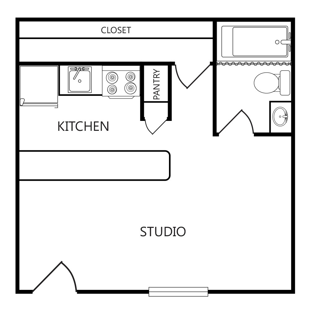 393 sq. ft. E ABP floor plan