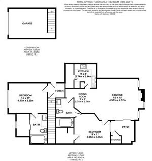 981 sq. ft. B1-GAR floor plan