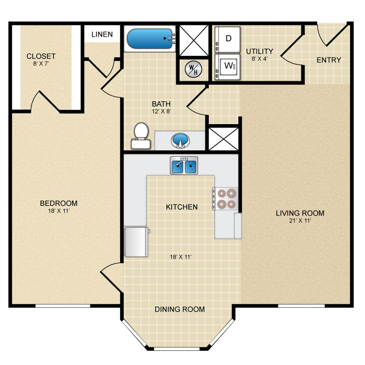 1,003 sq. ft. A floor plan