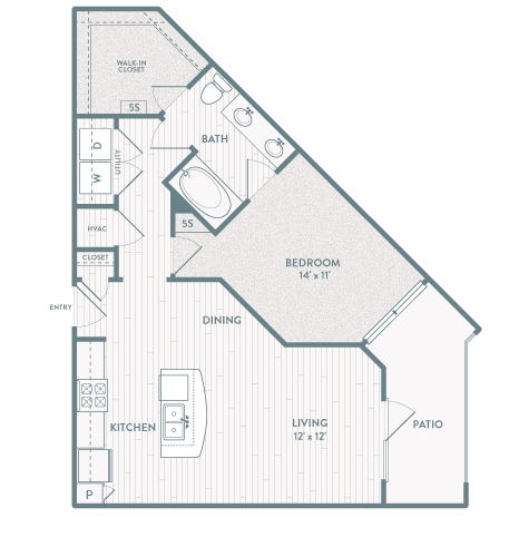 783 sq. ft. A6 floor plan
