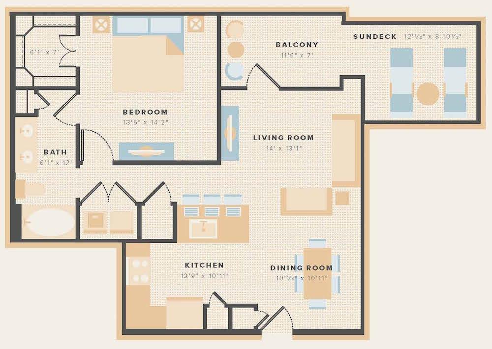 809 sq. ft. A10 floor plan