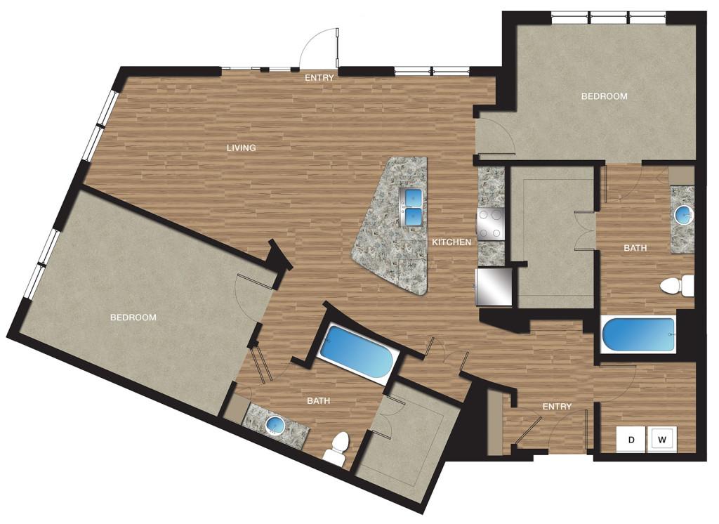 1,293 sq. ft. B8 floor plan