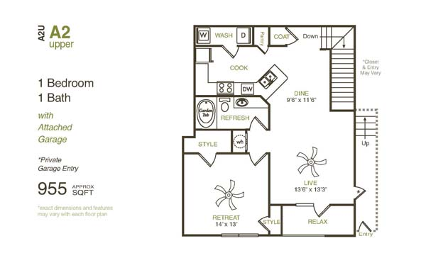 955 sq. ft. A2UG floor plan