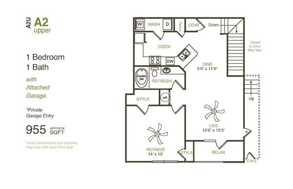 955 sq. ft. A2UG floor plan