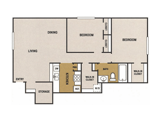 990 sq. ft. K floor plan