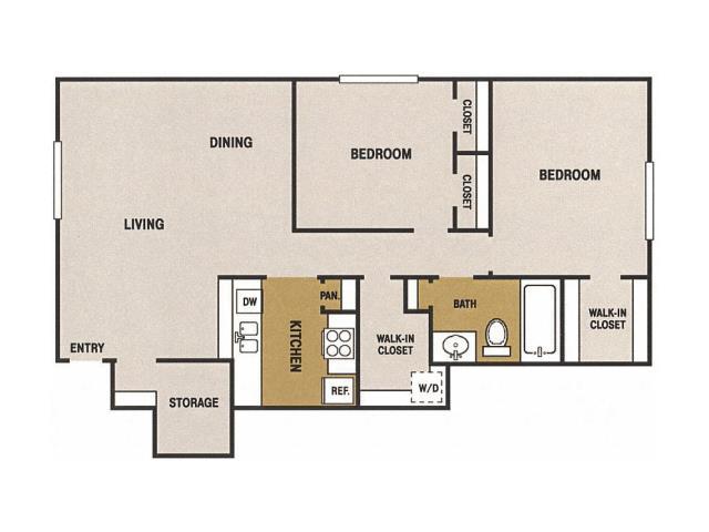 990 sq. ft. K floor plan