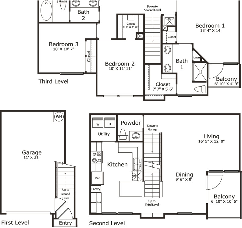 1,509 sq. ft. C1G floor plan