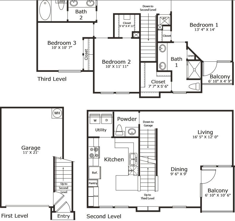 1,509 sq. ft. C1G floor plan