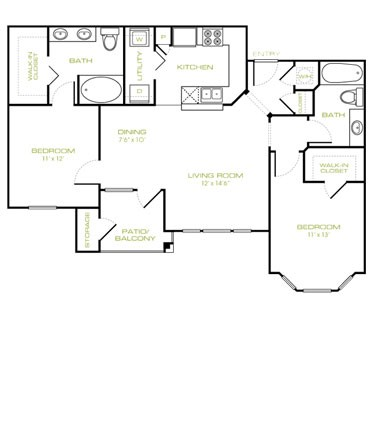 1,019 sq. ft. B2 floor plan