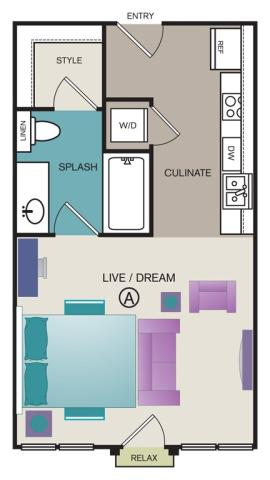 436 sq. ft. A1 floor plan