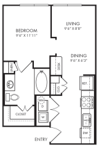 568 sq. ft. E1-2 floor plan