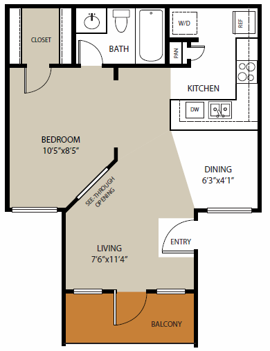 470 sq. ft. Knox floor plan