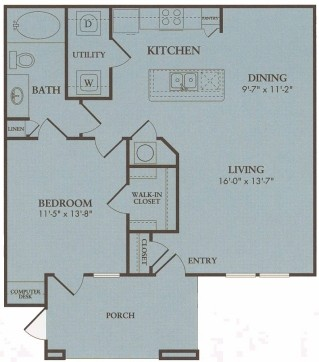 850 sq. ft. Pebble Beach floor plan