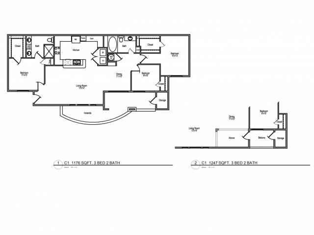 1,247 sq. ft. E1 floor plan