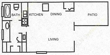 482 sq. ft. Eff floor plan