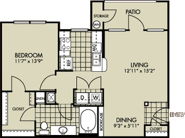 750 sq. ft. Carolina floor plan