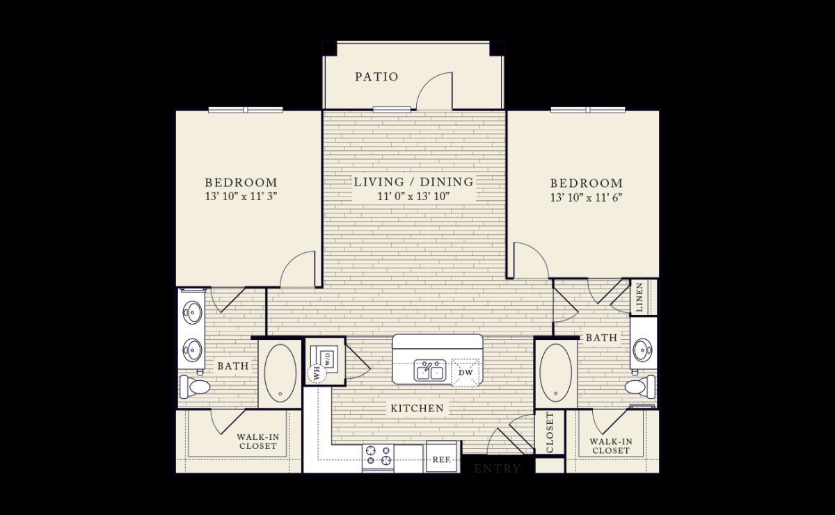 1,046 sq. ft. floor plan