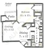 684 sq. ft. Aster floor plan