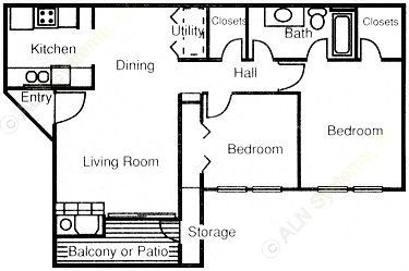 828 sq. ft. B1 floor plan