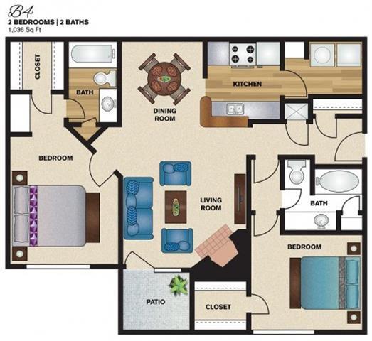 1,036 sq. ft. B4 floor plan