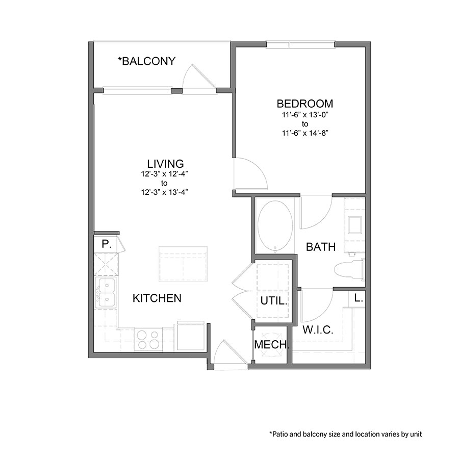 665 sq. ft. to 699 sq. ft. A2 floor plan