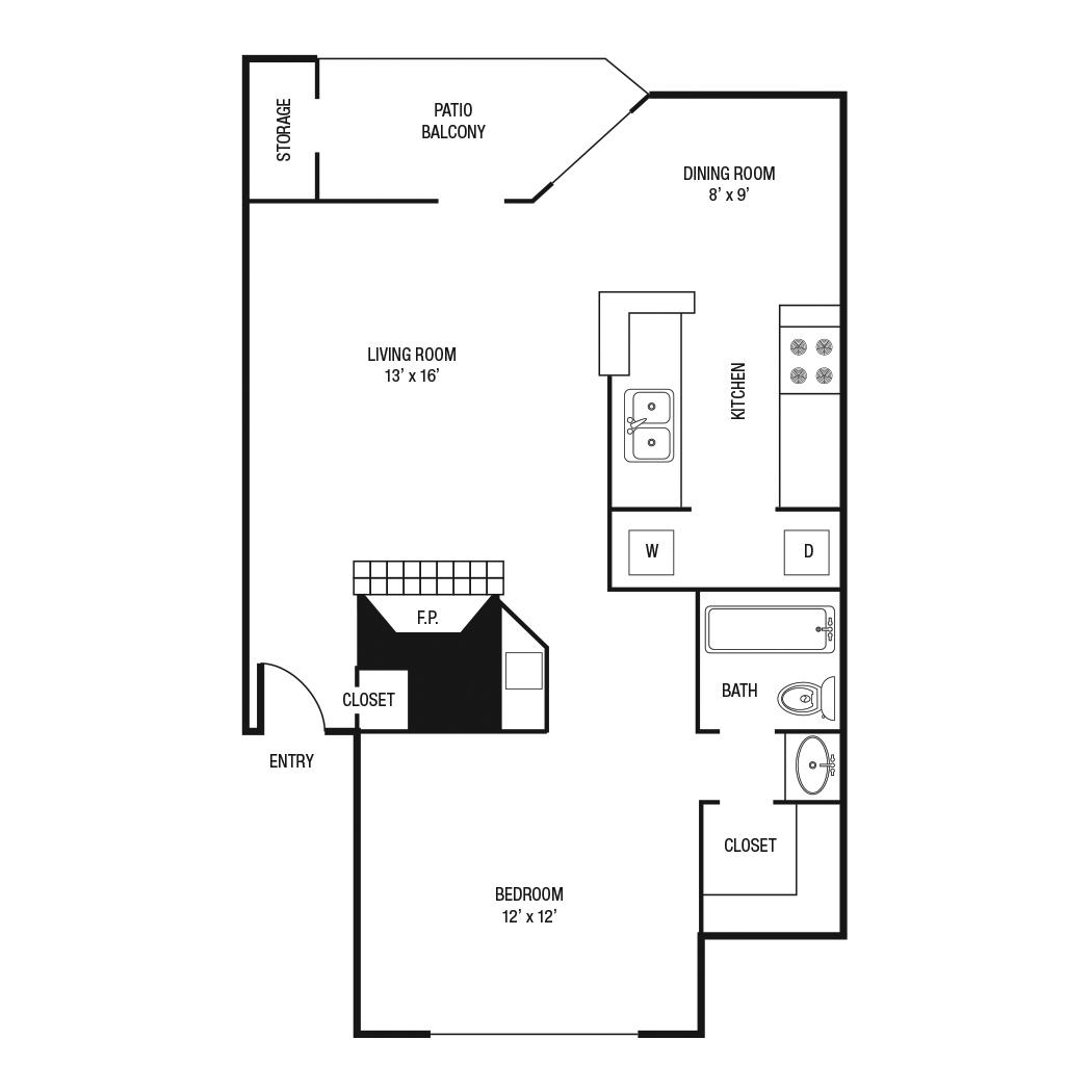 736 sq. ft. A-2 floor plan
