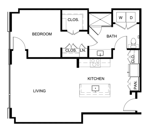 874 sq. ft. A9 floor plan