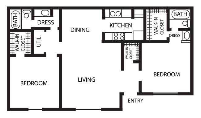 995 sq. ft. B1-PHASE 1 floor plan