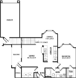 858 sq. ft. Augusta floor plan