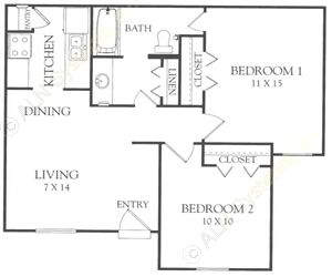735 sq. ft. L floor plan