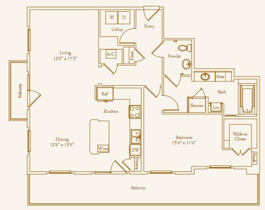 1,215 sq. ft. Stanmore Alt floor plan