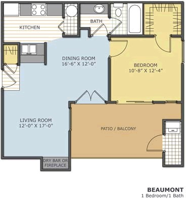 650 sq. ft. BEAUMONT floor plan