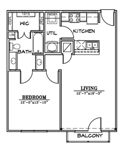 716 sq. ft. A5/A floor plan
