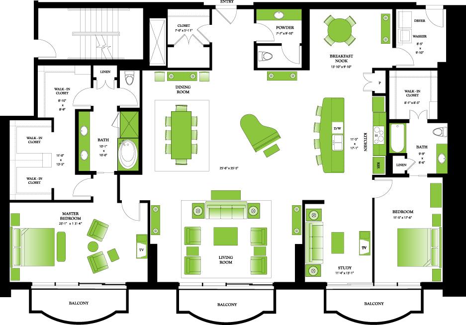 3,152 sq. ft. Penthouse III floor plan