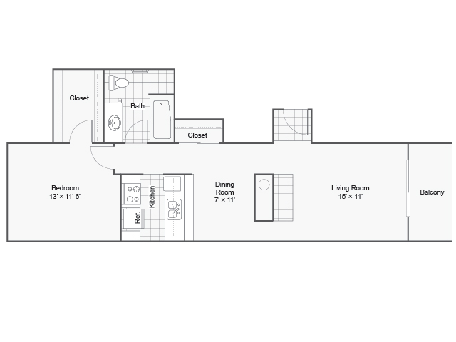715 sq. ft. I A-3 floor plan