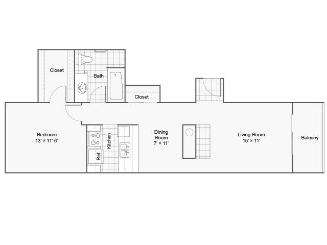 715 sq. ft. I A-3 floor plan