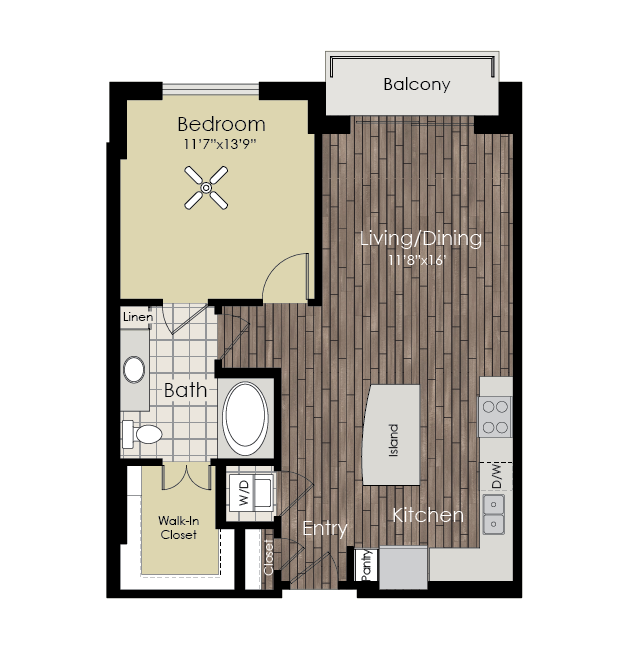 728 sq. ft. to 774 sq. ft. A2 floor plan