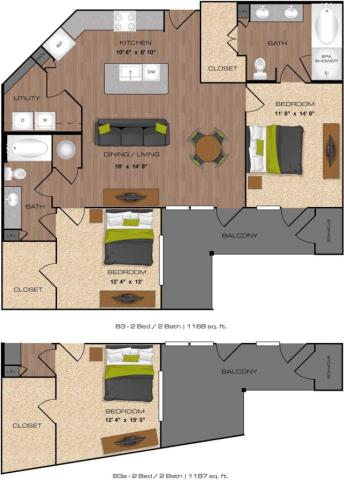 1,154 sq. ft. to 1,187 sq. ft. B3 floor plan