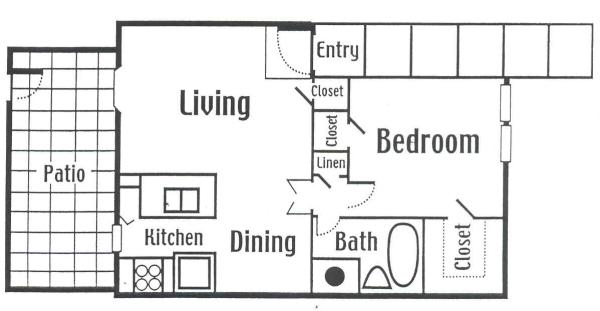 701 sq. ft. Large floor plan