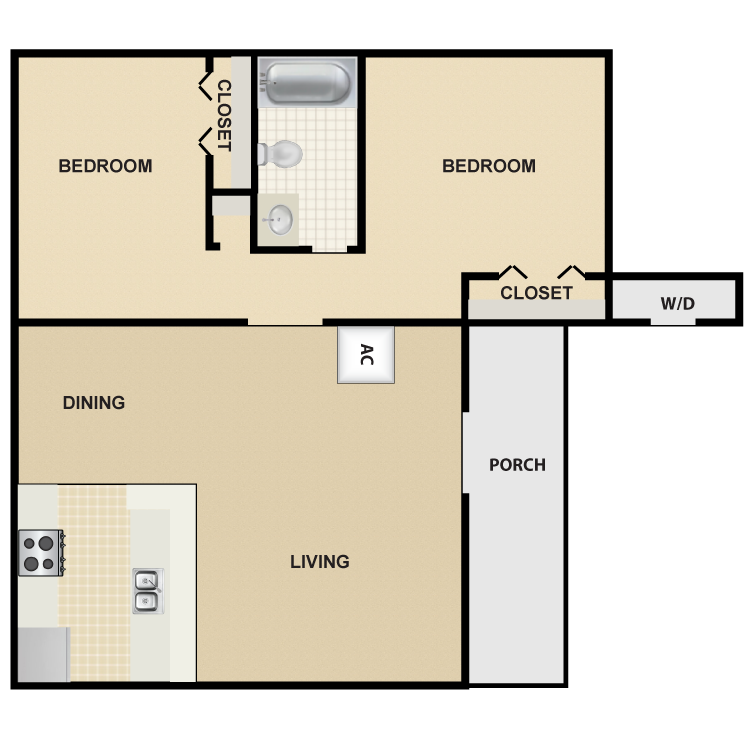 805 sq. ft. B1 floor plan