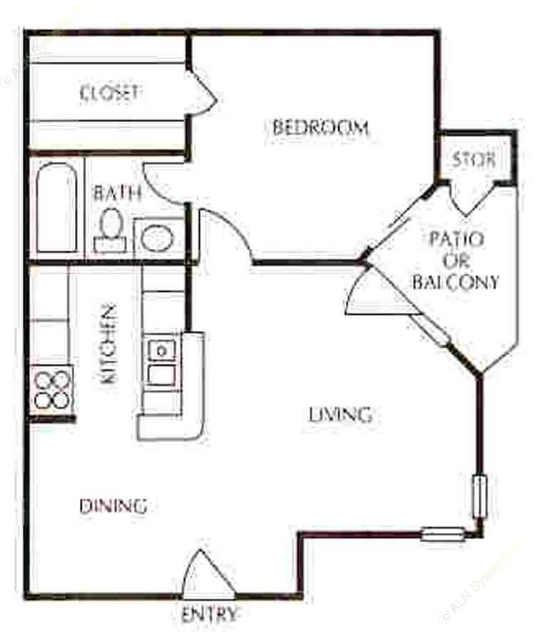512 sq. ft. A-1 floor plan