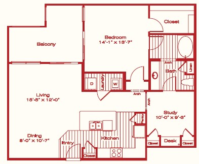 1,093 sq. ft. A6 floor plan