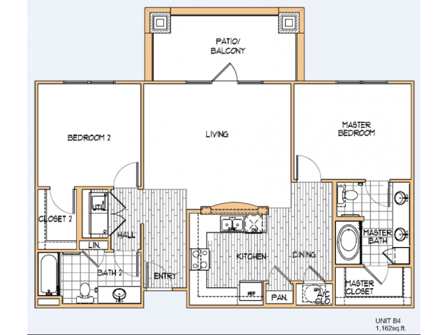 1,162 sq. ft. B4 floor plan
