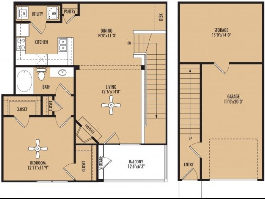 1,148 sq. ft. Allegro w/Garage floor plan