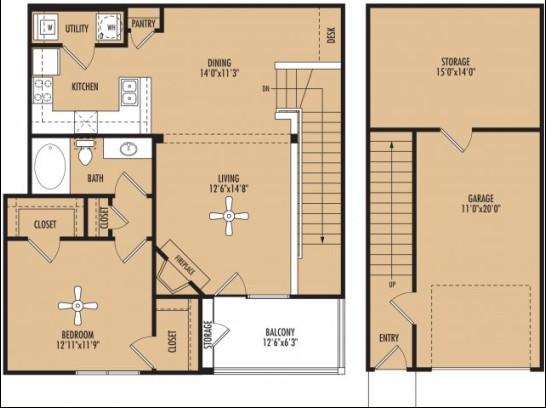 1,148 sq. ft. floor plan