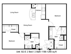 1,199 sq. ft. B2-E floor plan