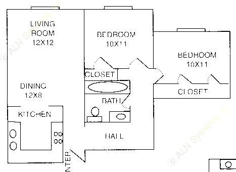 799 sq. ft. B-1 floor plan