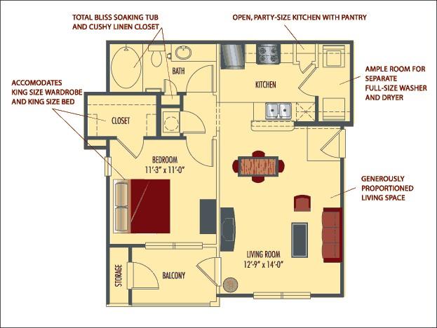 637 sq. ft. Capri floor plan
