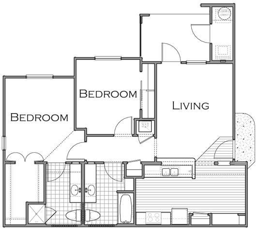 989 sq. ft. B3 floor plan