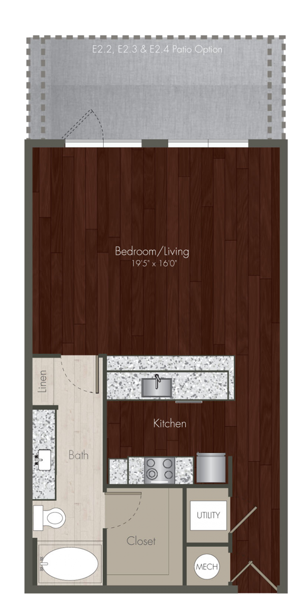 700 sq. ft. E2 floor plan